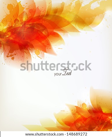 orange abstract background with colorful flower and blots. Vector design - stock vector
