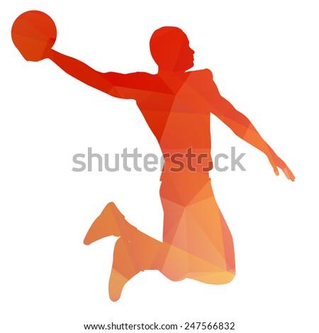 Orange abstract basketball player - stock vector