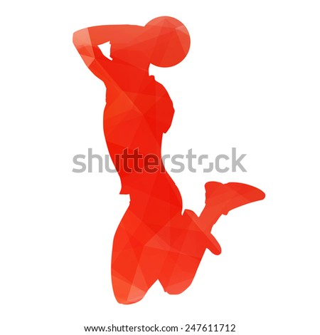Orange abstract basketball player - stock vector