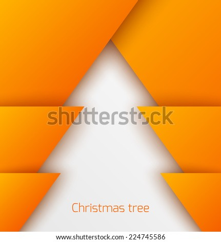 Orange abstract christmas tree paper applique. Vector illustration - stock vector