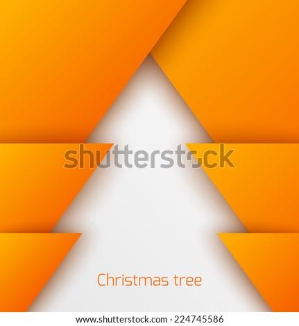Orange abstract christmas tree paper applique. Vector illustration - stock vector