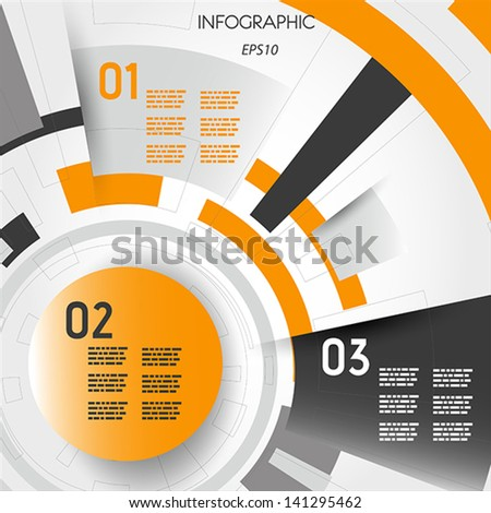 orange abstract technical infographic layout with rings. infographic concept. - stock vector