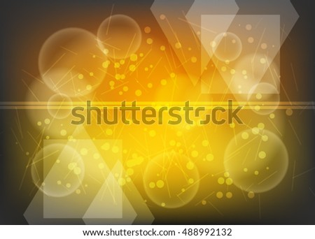 Orange abstract template for card or banner. Metal Background with waves and reflections.