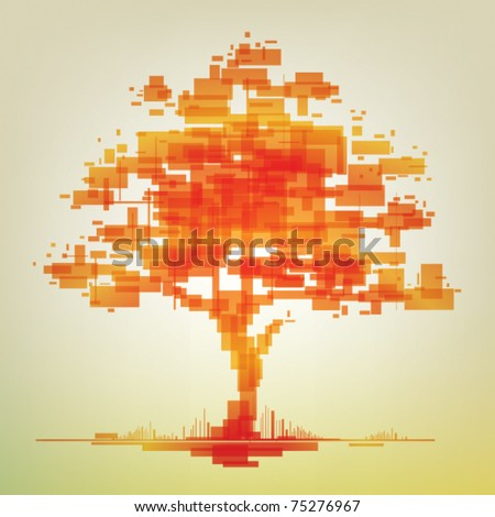 orange abstract tree - stock vector