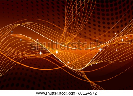 Orange abstract with lines - stock vector