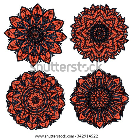 Orange and black circular floral patterns, composed with abstract flower elements and dark openwork ornament, for interior accessories or textile design - stock vector