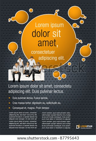 Orange and black template for advertising brochure with a group of people - stock vector
