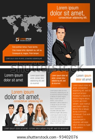 Orange and black template for advertising brochure with business people - stock vector