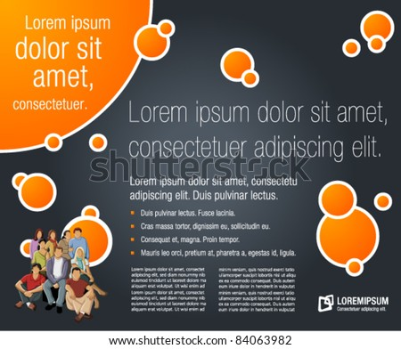 orange and black template for advertising brochure with students - stock vector