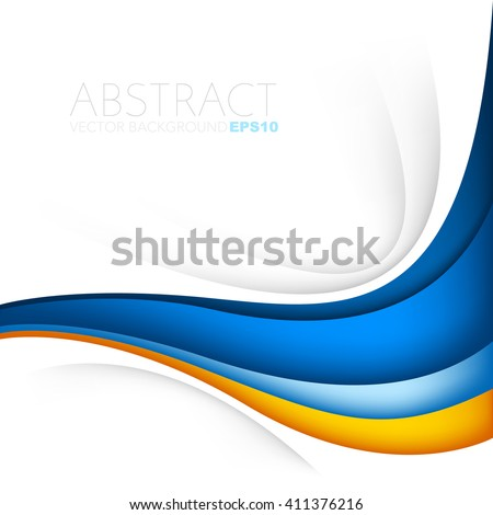 Orange and blue curve wave line background on white space for text and message modern artwork design - stock vector