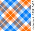 orange and blue light tartan diagonal seamless pattern vector illustration - stock vector