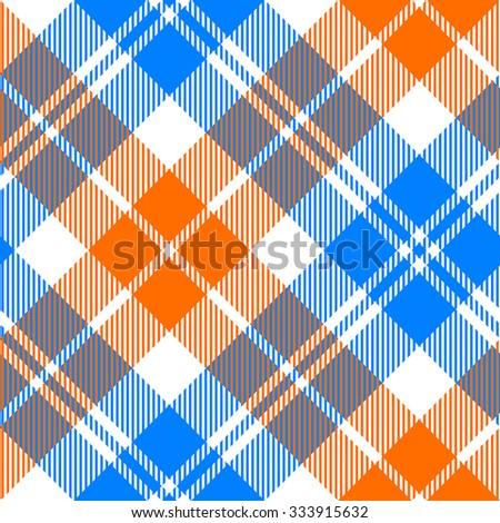 orange and blue light tartan diagonal seamless pattern vector illustration - stock vector
