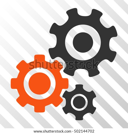 Orange And Gray Gear Mechanism interface toolbar icon. Vector pictogram style is a flat bicolor symbol on diagonal hatch transparent background.