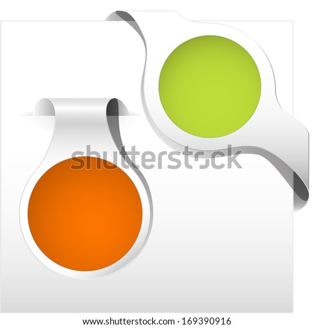 orange and green curled corner label with shadow on the blank background for spring - stock vector
