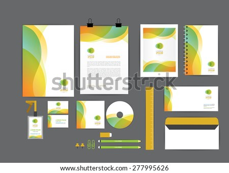 orange and green with curve graphic corporate identity template  for your business includes CD Cover, Business Card, folder, ruler, Envelope and Letter Head Designs - stock vector