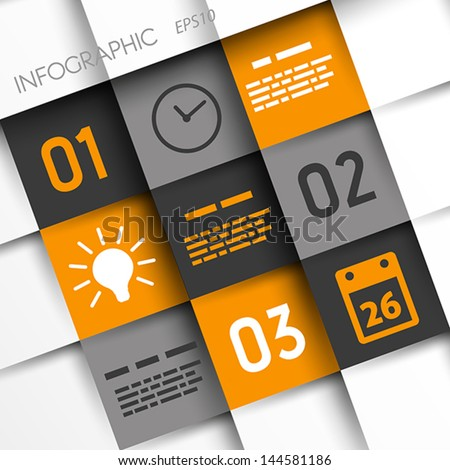 orange and grey infographic squares with time icons. infographic concept. - stock vector