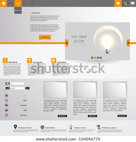 Orange and Grey Website template design  - stock vector