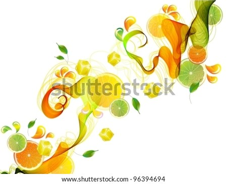 Orange and lime juice splash with abstract wave, beautiful vector illustration