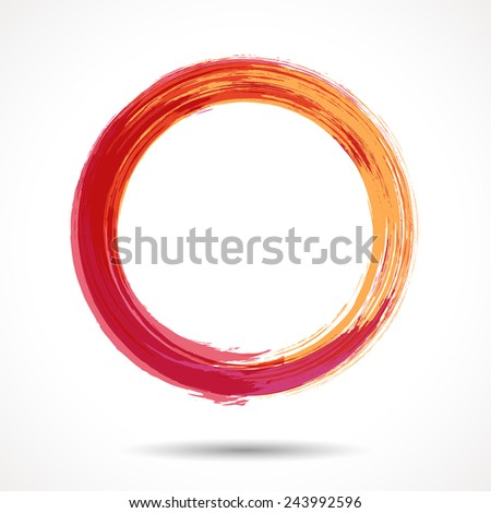Orange and marsala fashion themed watercolor ring - stock vector