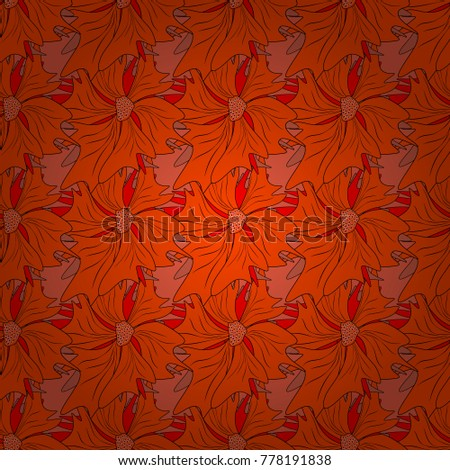 Orange And Red Background Wallpaper Illustration With Flowers Vintage Paisley Ornaments