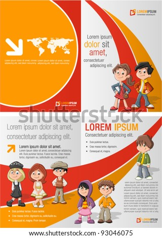 Orange and red template for advertising brochure with children students - stock vector