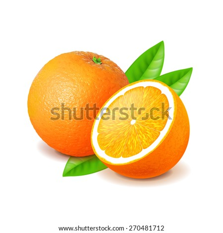 Orange and slice isolated on white photo-realistic vector illustration - stock vector