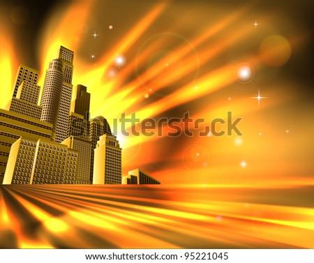 Orange and yellow business office block skyscraper illustration - stock vector