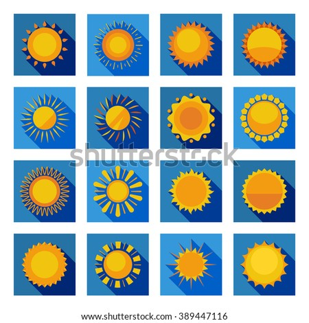 Orange and yellow decorative sun circles with sunbeams in isolated blue squares flat vector illustration - stock vector