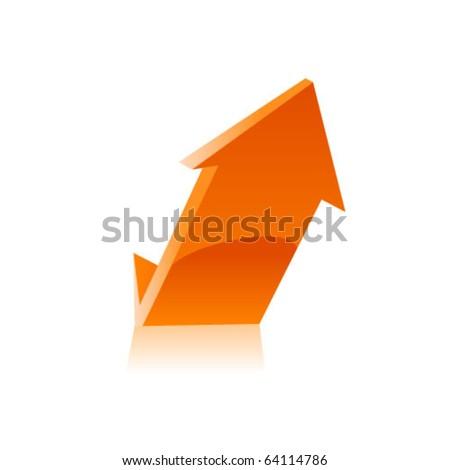 Orange arrow icon. Vector - stock vector