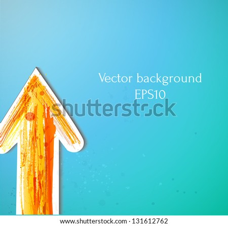 Orange arrow on blue background. Vector illustration - stock vector