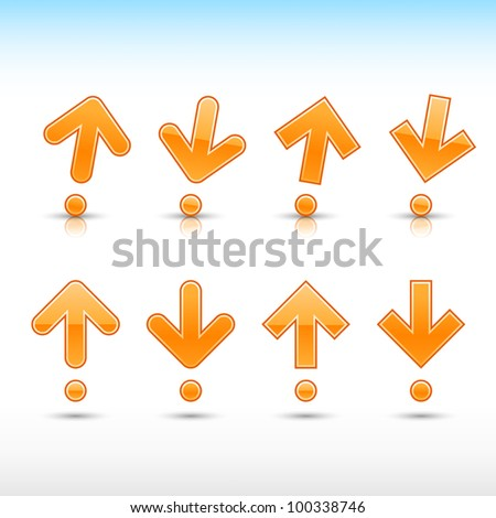 Orange arrow sign in form of exclamation mark. Glossy and satined shapes with reflection on white background. Vector illustration saved in 10 eps. - stock vector
