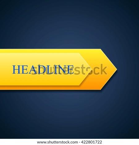 Orange arrow sticker on blue background. Arrow sign label vector tech design - stock vector