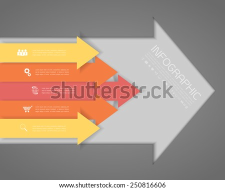 Orange arrows on the grey background. Eps 10 vector file. - stock vector