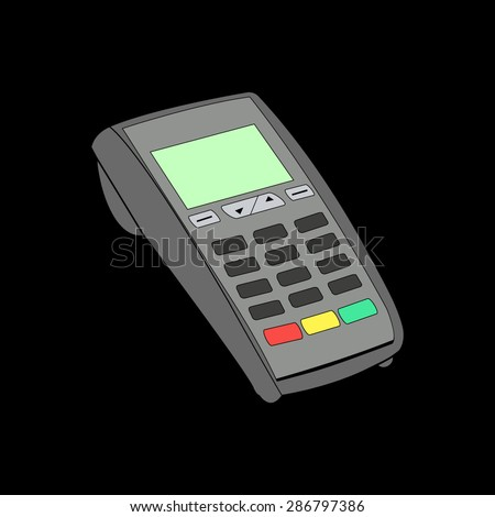Orange ATM keypad and POS-Terminal - simple icons on a black background