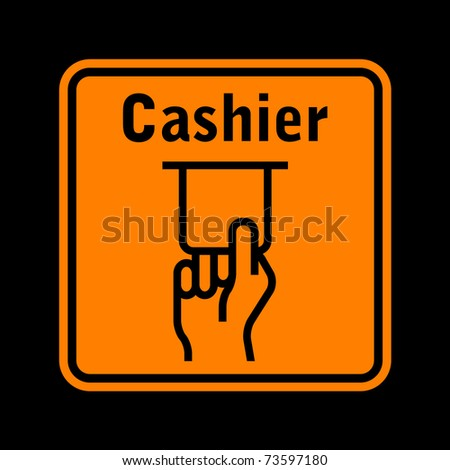 orange atm sign isolated on black background