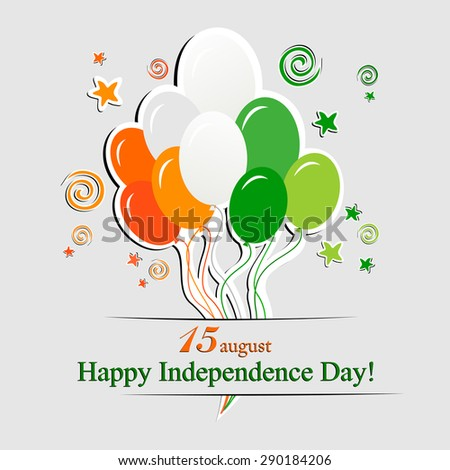 Orange background for Indian Independence Day with text 15 August, balloon and place for your text. vector illustration  - stock vector