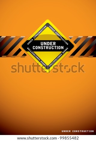 Orange background template for a website construction page - stock vector