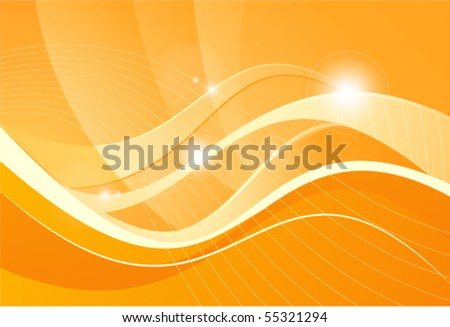 Orange background with lines - stock vector