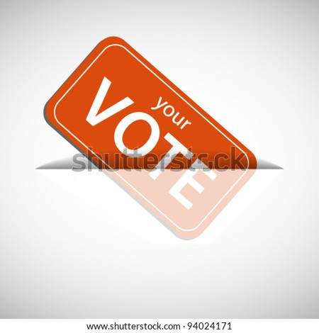 Orange ballot card inserting to slot - stock vector