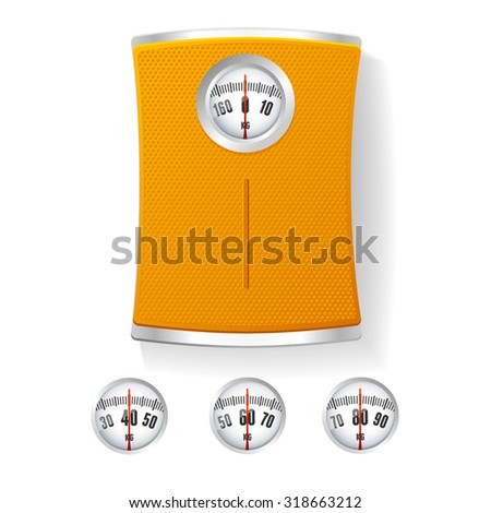 Orange Bathroom Scale with Different Dials. The Concept of Control of Body Vector illustration - stock vector