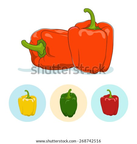 Orange bell pepper  on white background,set of three round colorful icons, yellow,red and green sweet pepper, icon capsicums ,vector illustration - stock vector