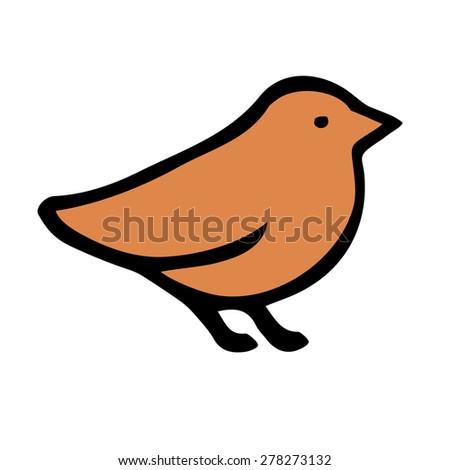 orange bird - stock vector