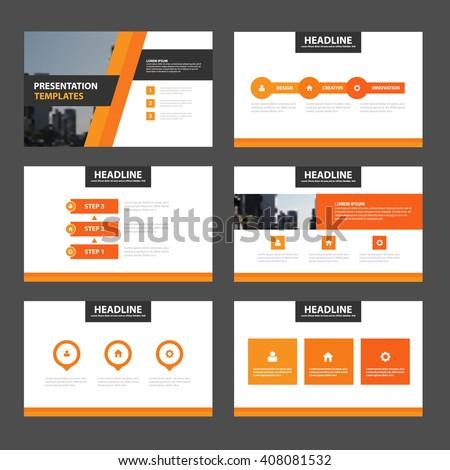 Orange black presentation templates Infographic elements flat design set for brochure flyer leaflet marketing advertising - stock vector