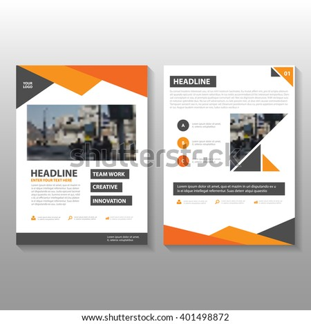 Orange black triangle Vector annual report Leaflet Brochure Flyer template design, book cover layout design, Abstract orange black presentation templates