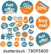 orange-blue cute stickers icons, signs, vector - stock vector