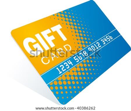 orange-blue gift card - stock vector