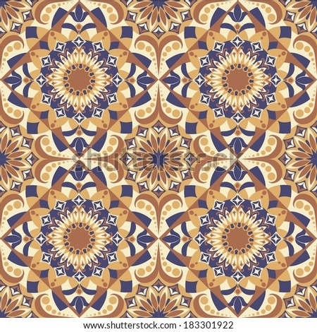 orange blue seamless pattern - stock vector