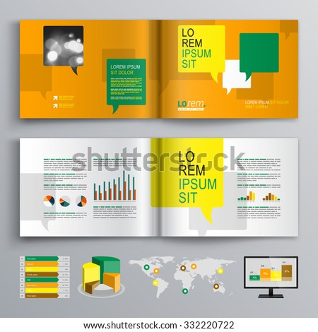 Orange brochure template design with yellow, green and white text bubbles. Cover layout and infographics