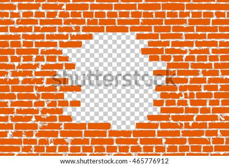 Orange broken realistic old black brick wall concept on transparent background. Vector illustration