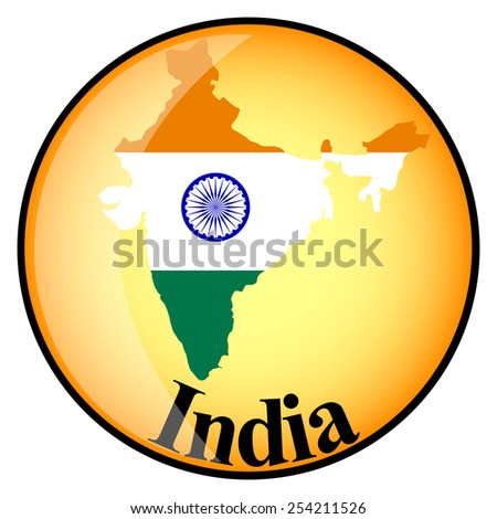 orange button with the image maps of India in the form of national flag - stock vector